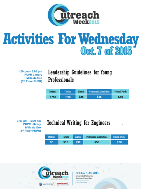 Outreach Week Activities