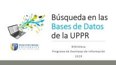 Búsquedas en las Bases de Datos de la UPPR Mes de la EaD 2019